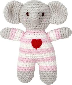 Kolli: 2 Crochet Rattle Elephant light pink Baby Charms