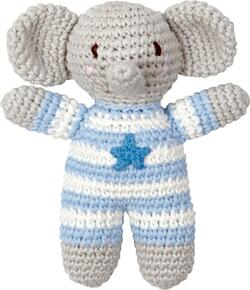 Kolli: 2 Crochet Rattle Elephant light blue Baby Charms