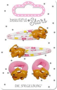 Kolli: 6 Hair Clip + Hair Tie Rabbit Hair Accessories