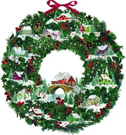 Kolli: 1 Christmas Wreath With Festive Houses