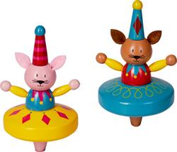 Kolli: 12 Wooden spinning top - bunny