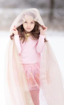 Kolli: 2 Royal Princess Cape, Gold/Pink, Size 5-7