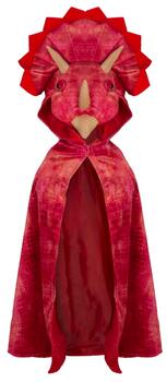 Kolli: 2 Triceratops Hooded Cape, Red, Size 4-5