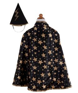Kolli: 2 Reversible Wizard Cape & Hat, Black/Gold, Size 4-6