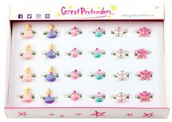 Kolli: 24 Princess, Cupcake & Butterfly Rings, 24 Pcs, Assorted