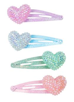 Kolli: 6 Sparkle Heart Bobble Hair Clips, 4 Pcs
