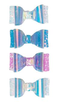 Kolli: 6 Glow Bow Hair Clips, 2 Pcs, Assorted