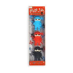 Kolli: 18 Ninja Erasers - Set of 3