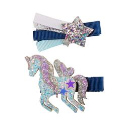 Kolli: 6 Boutique Navy Unicorn Star Hairclip, Asstd