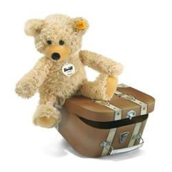 Charly dangling Teddy bear in suitcase, beige - 30 cm