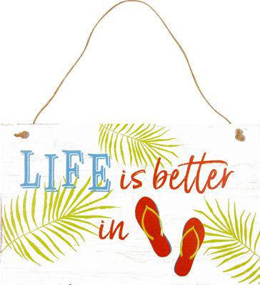 "Kolli: 3 Wooden sign ""Life is better … """