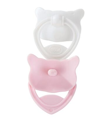 Kolli: 2 Cookie pacifier, pink & white